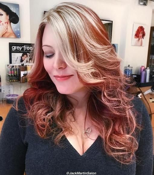 Chunky Blonde Highlights For Red Hair