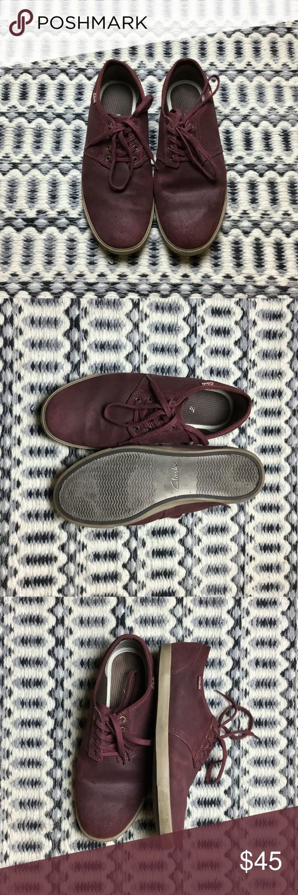 Clarks Men's Plimsoll A premium version of the classic plimsoll with copper eyelets, and tan sole. Deep burgundy color, great way to get a pop of color to a casual outfit. Clarks Shoes Sneakers