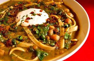 Aush (Afghan Noodle Soup) | Dining for Women [ ground beef or ground turkey, tomato paste, pasta/spaghetti, kidney beans, chickpeas, yogurt, garlic, coriander, dried mint]