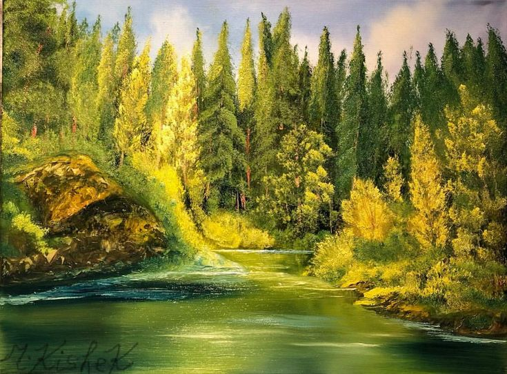 "358 Likes, 33 Comments - Marwen Kishek 🇨🇦 (@m_kishek_art) on Instagram: ""(c) Lazy Creek by M. Kishek. Oil on canvas 18""x24"". #creek #creeks #landscape #pond #river…"""