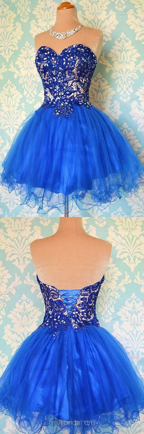 Short Homecoming Dresses,Royal Blue Evening Party Gowns,Organza Ball Gowns for Prom, Cute Lace-up Beading Prom Dresses