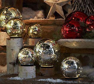 Set of 3 Lit Indoor Outdoor Mercury Glass Spheres by Valerie