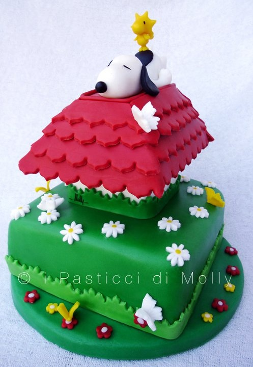 Snoopy on top of his dog house cake