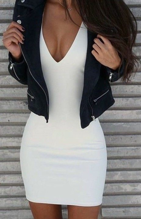 200d525f32f7 chic and simple that is what i needed in my life the white plunging dress  with… #whitedress