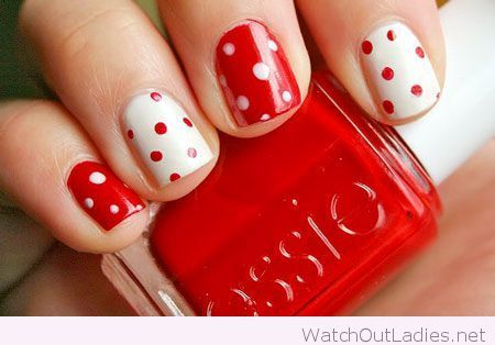 Red and white nails with polka dots for Christmas