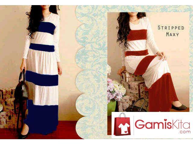 Gamis Colored Panda, gamis dibuat dari material spandek kualitas baik yang nyaman dipakai, motif bergaris unik horizontal dengan lengan panjang, simple yet elegant.
