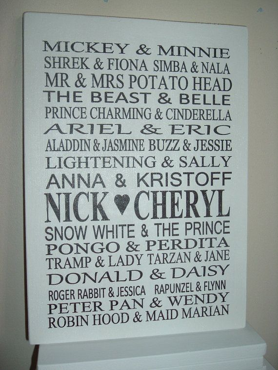 Shabby Chic Personalized Disney Couples Sign Plaque Great
