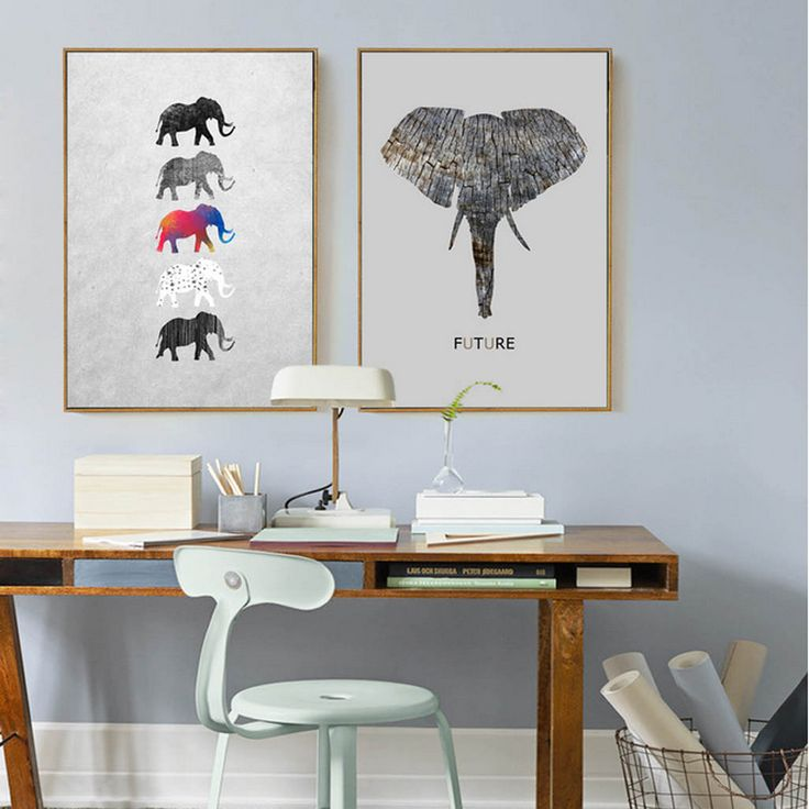 Abstract Elephant Canvas Painting Nordic Scandinavian Wall Art Natural Poster Print Pictures for Living Room Home Decor No Frame #Affiliate