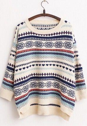 Loose striped knit sweater