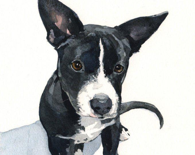 Custom Pet Portrait 8x10 Realistic Dog Watercolor Painting Pet