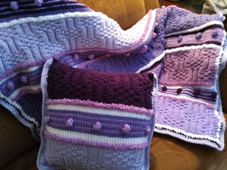 Knitted Twin size Blanket and pillow for little girl