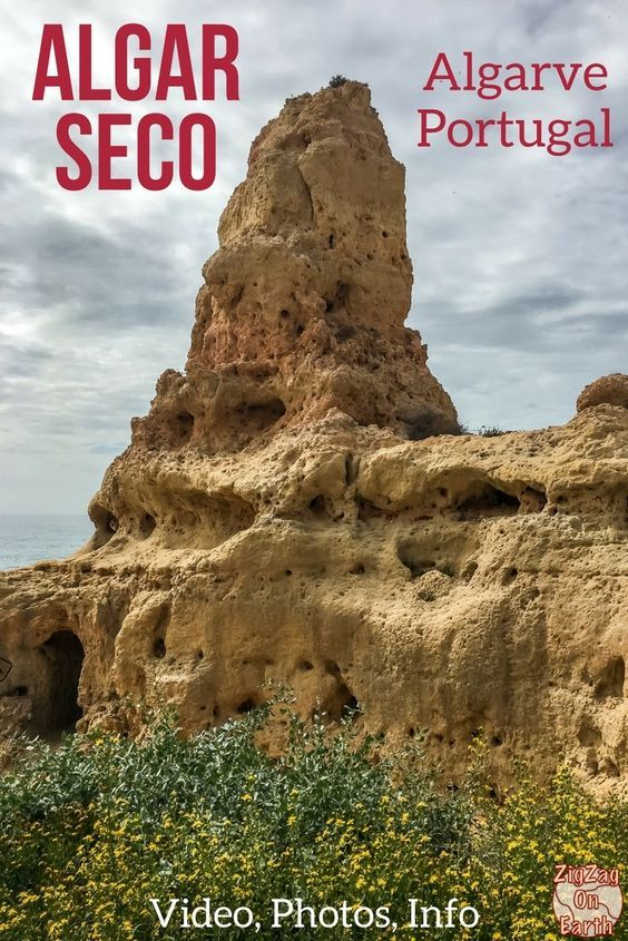 Portugal Travel Guide - Algar Seco is one of the best viewpoints in the Algarve with  a pinnacle, caves, blowholes and amazing cliffs! | Portugal Algarve things to do | Portugal itinerary