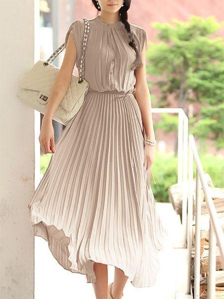 17c737271ee9 Buy Dresses For Women at Popjulia. Online Shopping Plus Size Stand Collar  Women Dress A-line Daytime Sleeveless Solid Pleated Chiffon Casual Dress,  ...
