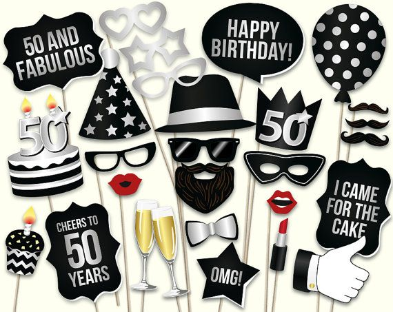 50th birthday photo booth props printable PDF. by HatAcrobat