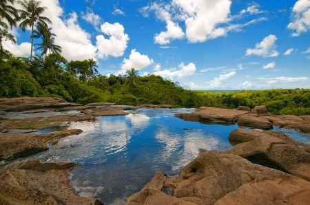 Beautiful river, off to Cicurug Waterfall at Surade Village (Ujung Genteng), West Java - Indonesia