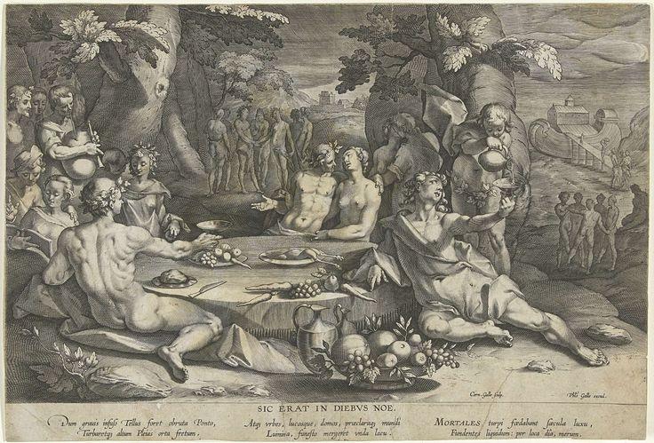 Cornelis Galle (I) | Zondig leven in de dagen van Noach, Cornelis Galle (I), Gerrit Pietersz. Sweelink, Philips Galle, 1586 - 1612 | Jonge mensen genieten van een banket in de openlucht. Halfnaakte mannen en vrouwen zitten aan een lage ronde tafel, drinken wijn en vrijen. Links speelt een man op een doedelzak. Rechts op de achtergrond is de ark van Noach te zien. De straf voor het zondige leven van de jeugd is de zondvloed.