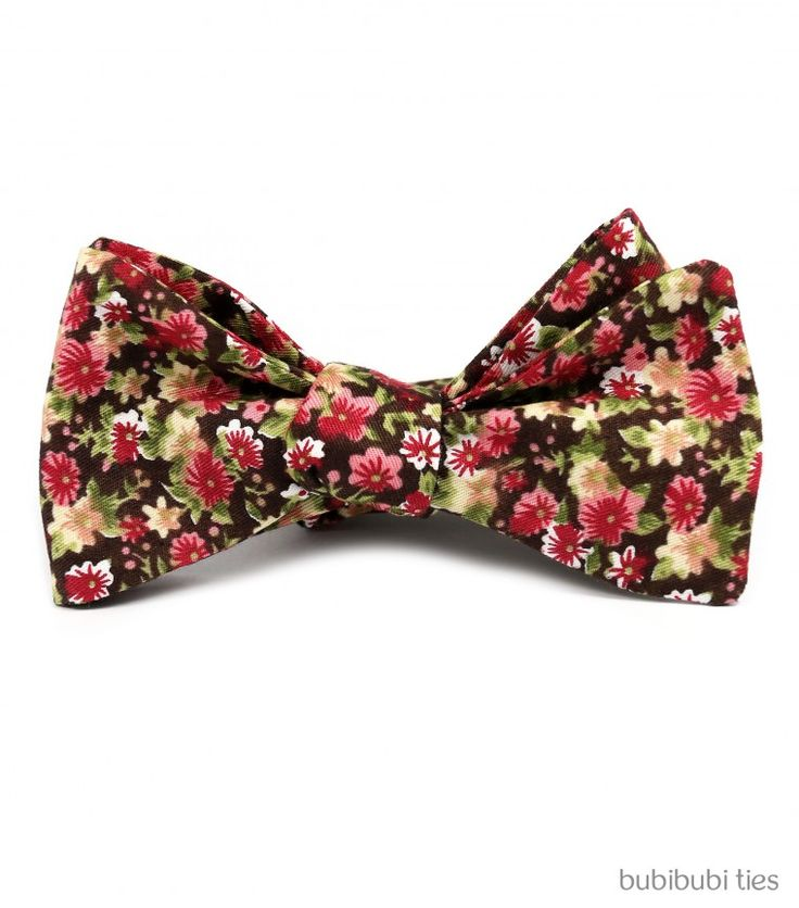 Brown/pink floral bowtie - bubibubi ties