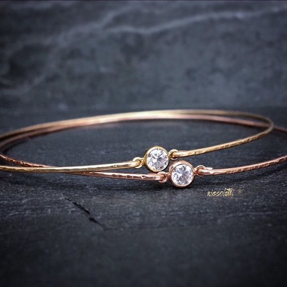 Delicate Diamond Alternative Bangle / 14k Rose Gold Stacking Bangle / Dainty 14k Gold Gemstone Bangle / Bridesmaid Gift / Modern Minimalist