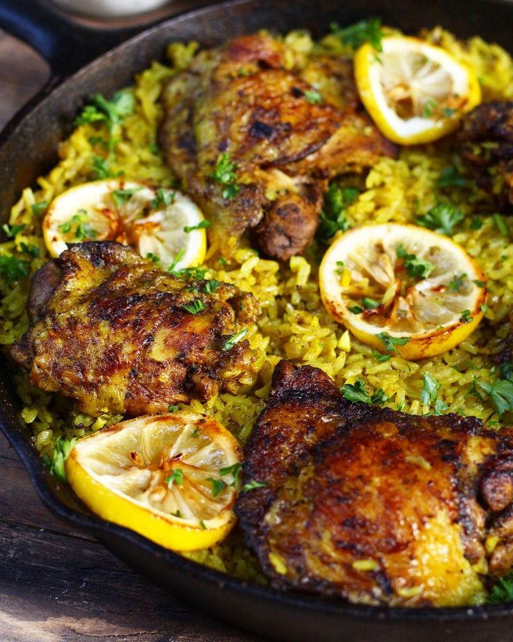 A flavorful Middle Eastern Chicken made with seasoned tumeric rice all in one pot! Fuss free this middle eastern chicken is super easy to make.