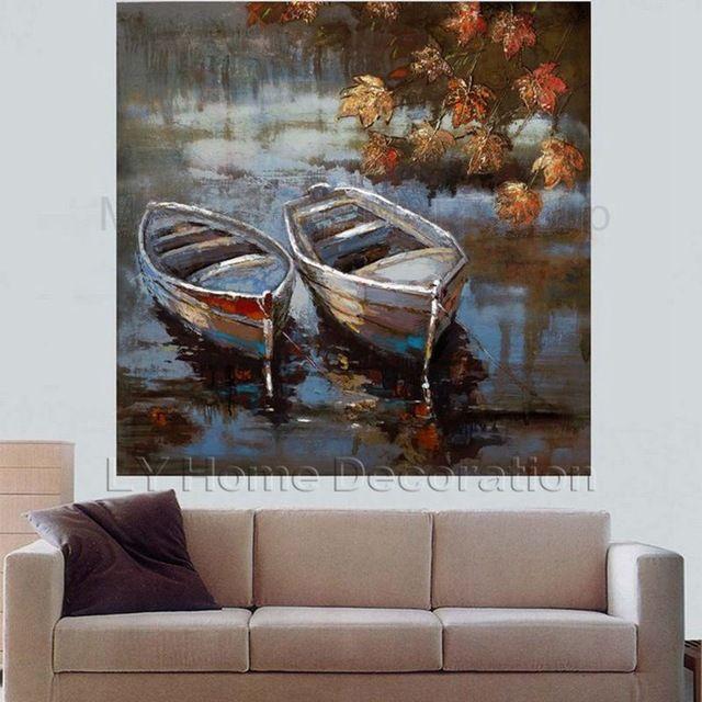 Pintado a mano moderno del arte abstracto dos barcos en el - Pinturas para el hogar ...