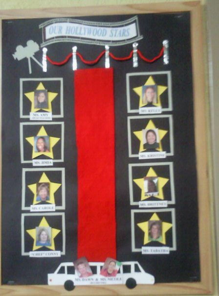 Hollywood Stars staff bulletin board
