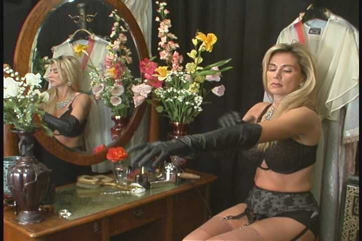 putting on long leather gloves