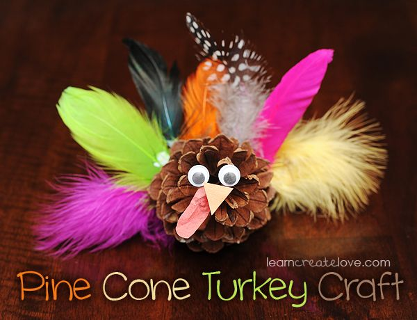Make this adorable Pine Cone Turkey Craft with the kids for Thanksgiving. See more Thanksgiving kids crafts on www.prettymyparty.com.