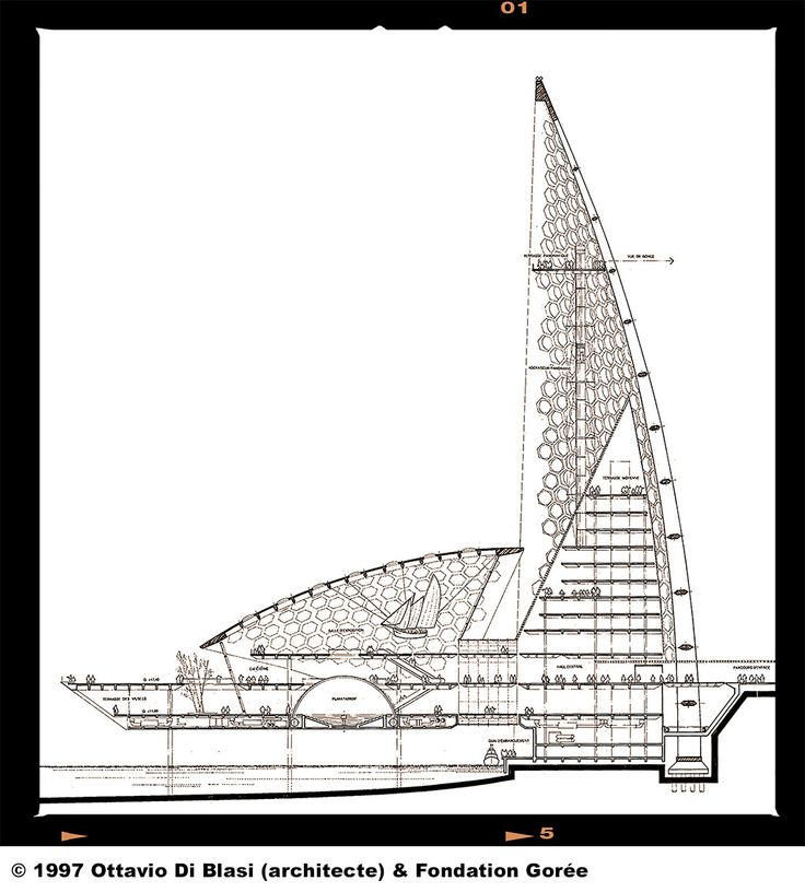 Plan de coupe du Mémorial de Gorée à Dakar par Ottavio Di Blasi en 1997 - www.memorialdegore.org