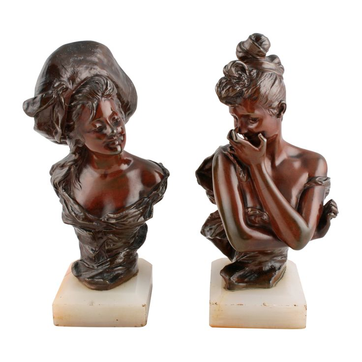 Pair of Bronze Ladies After Georges Van Der Straeten
