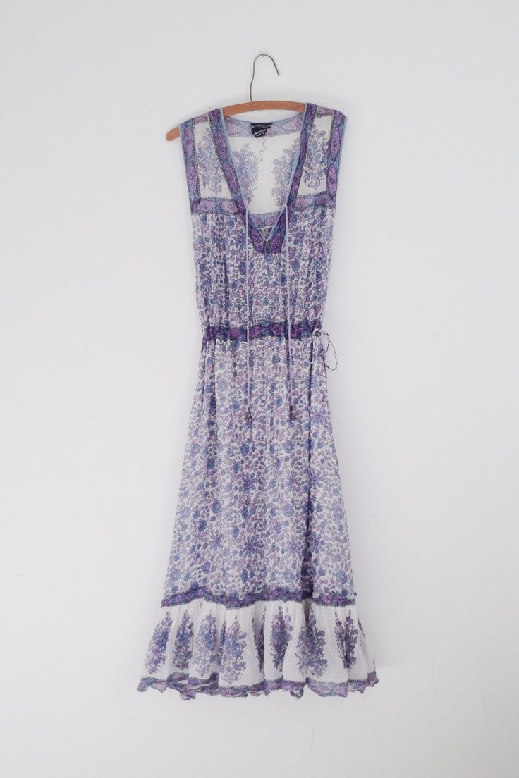 Vintage India Dress / Indian Cotton Gauze Dress / Floral Hippie Gown / Block Print Maxi / Interlinks London / 60's / 70's by PlumeCanyon on Etsy https://www.etsy.com/listing/474146347/vintage-india-dress-indian-cotton-gauze