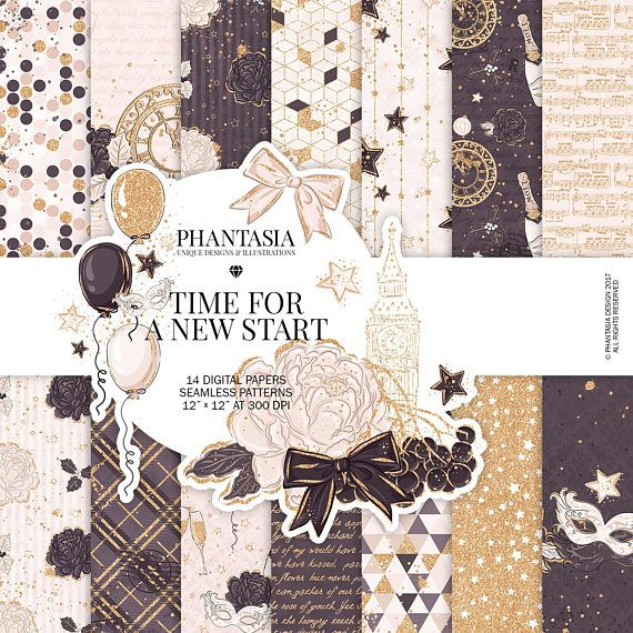 New Year Watercolor Digital Paper Pack Fashion Illustration