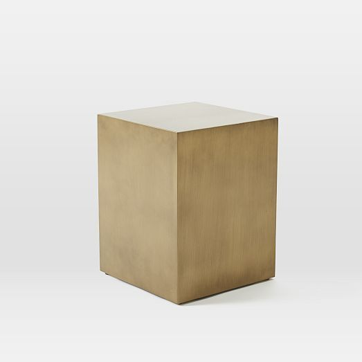 Metal cube side table antique brass west elm for Cube side table