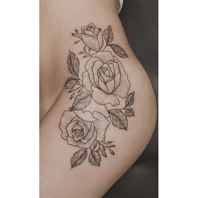44 Awesome Hip Rose Tattoos: Thanks For The Good Yarns. Roses On The Hip