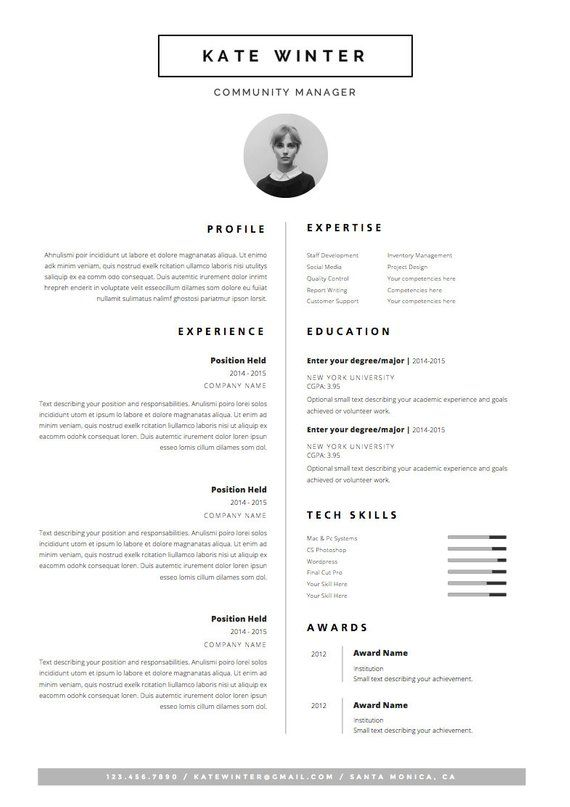 Minimalist Resume Template Cover Letter Icon Set For Etsy