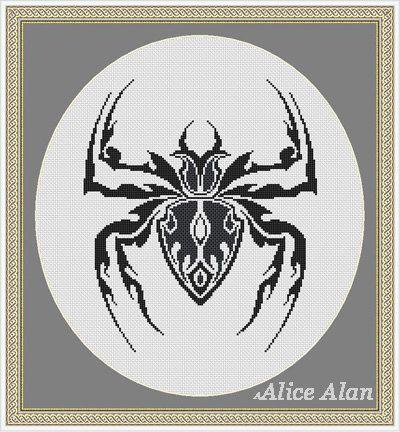Cross Stitch Pattern Silhouette Spider tattoo tribal от HallStitch