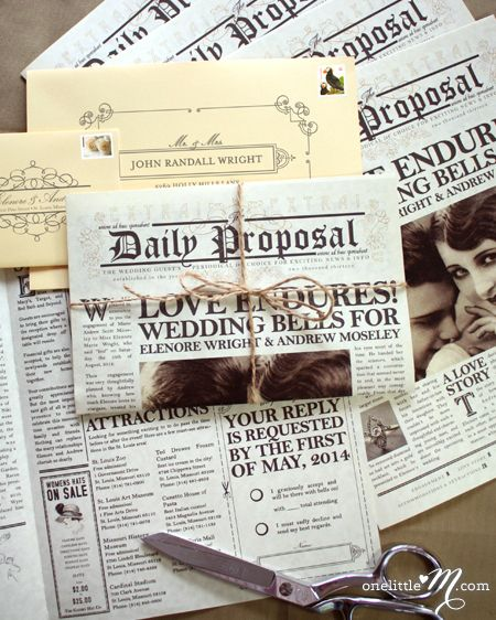 This Could Be A Cool Program The Daily Proposal 1920s Themed Vintage Newspaper Wedding Invitation