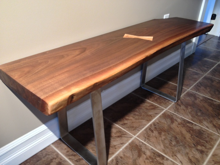 Black Walnut Entrance Bench W Maple Butterfly And Stainless Steel Legs. A  Tung Oil Finish. Tung Oil FinishWood TablesWood ...