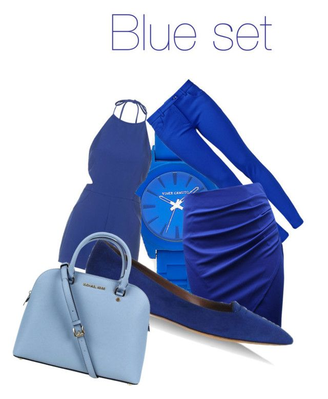 """Blue set"" by inkmanwil on Polyvore featuring Vince Camuto, Topshop, Boutique Moschino, Tabitha Simmons and Michael Kors"