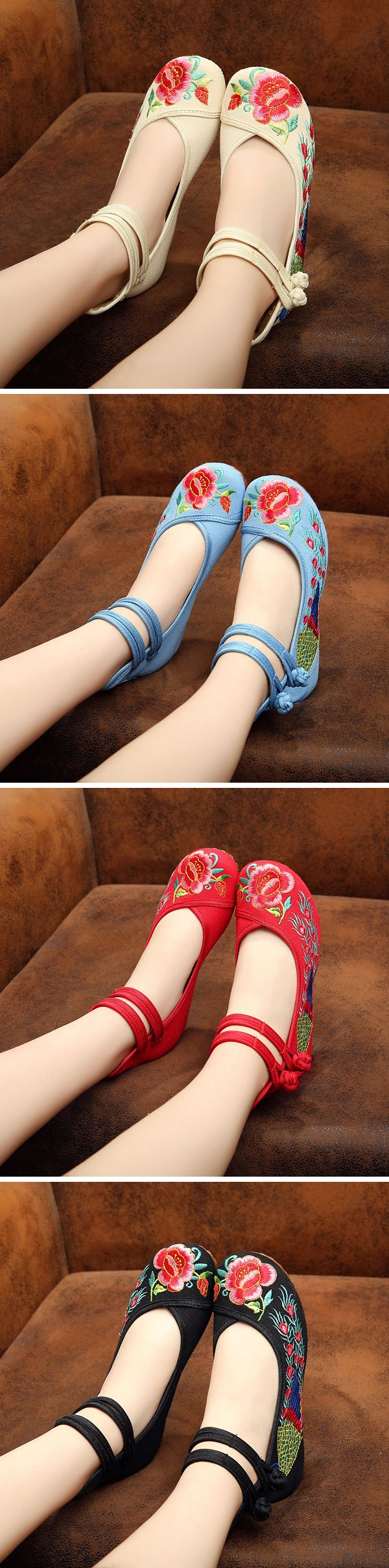 US$13.06 Floral Embroidery National Wind Chinese Knot Lace Up Wedge Heel Shoes