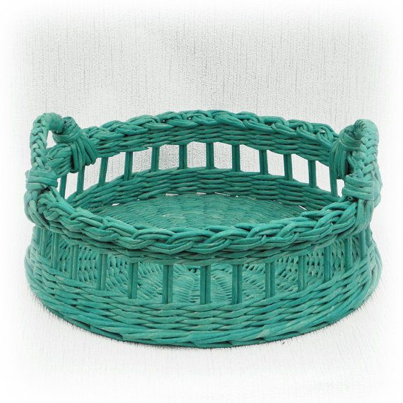 Wicker round tray, turquoise