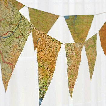 map bunting/ great for a going away or Bon voyage party. Or anything, because I love maps.: Prayer Flags, Parties Plans, Crafts Rooms, Vintage Maps, Maps Buntings, Old Maps, Parties Ideas, Go Away Parties, Banners
