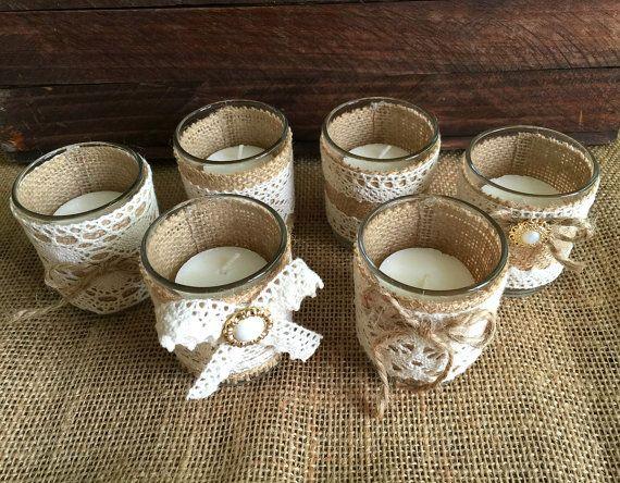 6 naturlap rústico de arpillera y encaje cubiertos velas de té