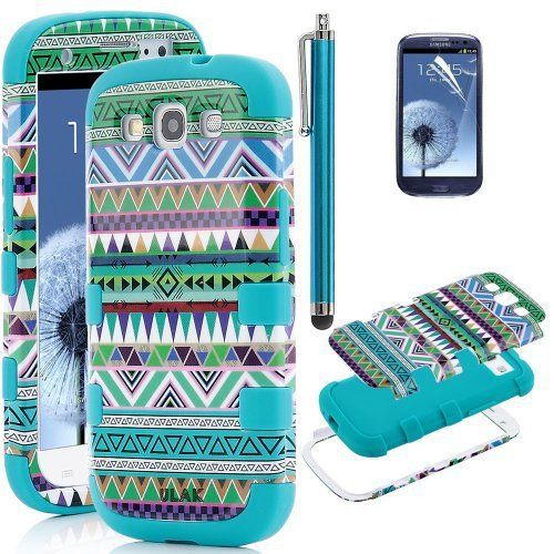 Pandamimi ULAK(TM) 3in1 Hybrid High Impact Green Hard Aztec Tribal Pattern + Blue Silicone Case Cover For Samsung Galaxy S3 i9300 +Screen Protector +Stylus
