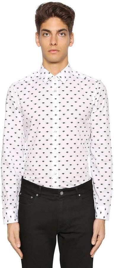 Slim Fit Eyes Printed Poplin Shirt
