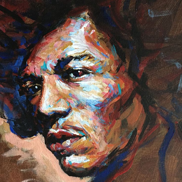 Jimi Hendrix colorful painting by Heikki Sivonen 2015. Acrylic on canvas 23x33cm.