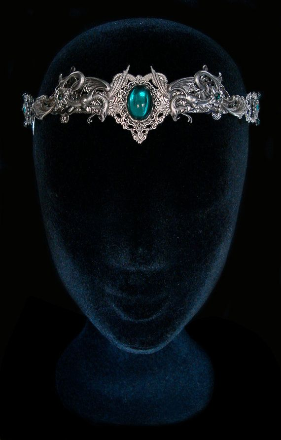 Couronne Serpent Salazar Serpentard Severus Rogue Tiare Harry Potter Bijouterie Gorgone Méduse Argent Vert Emeraude                                                                                                                                                                                 Plus