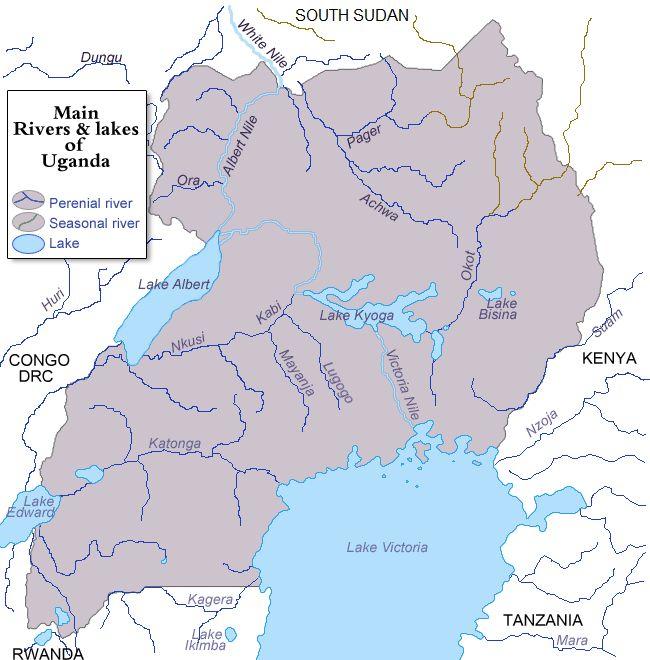 The main rivers and lakes of Uganda