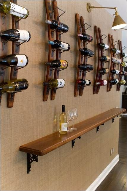 Decoration, Incredible Wall Mounted Wine Racks Also Simple Wall Mounted Table Make This Modern Interior Looks More Gorgeous 016: Splendid Wa...
