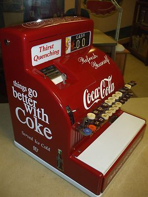 Antique Coca Cola Items | 1950's Coca-Cola themed antique national cash register arcade gaming ...