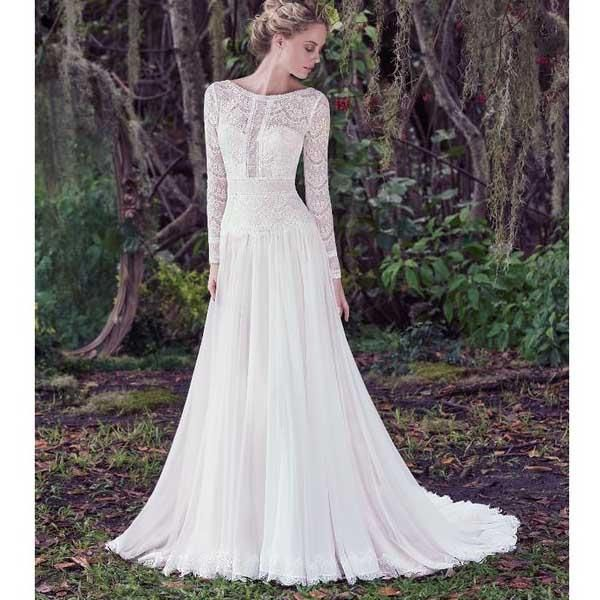 1ff4780e77f4 Long Sleeves V Back Lace Charming Affordable Formal Long Wedding Dress -  Wish Gown